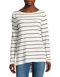 Lord And Taylor Striped Knit Sweater White