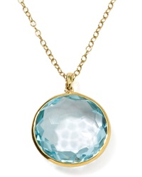 Ippolita 18K Gold Rock Candy Lollipop Pendant Necklace Lt Blue Topaz Gold