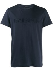 Balmain Debossed Logo T Shirt Blue