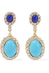 Ben Amun Gold Plated Crystal And Stone Earrings Turquoise