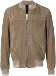 Orciani Textured Bomber Jacket Neutrals