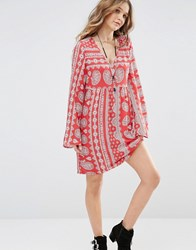 Honey Punch V Neck Swing Dress In Paisley Print With Tie Up Back Red