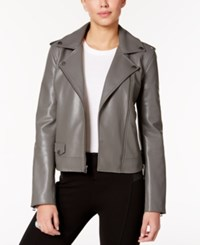 Lucky Brand Faux Leather Moto Jacket Smoke