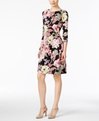 Ny Collection Floral Print Ruched Sheath Dress Large Floral