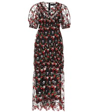 Simone Rocha Floral Embroidered Tulle Dress Black