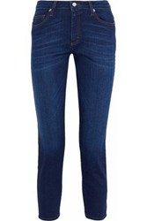 Iris And Ink Brendan Cropped Mid Rise Slim Leg Jeans Dark Denim