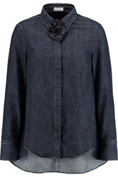 Brunello Cucinelli Brooch Embellished Denim Shirt Blue