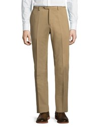 Luciano Barbera Cotton Straight Leg Dress Pants Brown