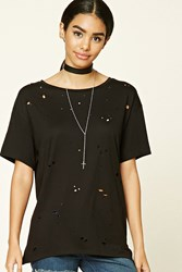 Forever 21 Distressed Raw Cut Longline Tee