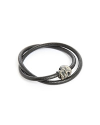 Tateossian Berlin Skull Double Silver And Black Leather 36Cm Bracelet