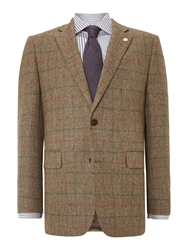 Chester Barrie Check Notch Collar Tailored Fit Formal Blazer Lovat