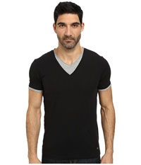 Boss Orange Tulis Short Sleeve Double Layer V Neck Black Men's Short Sleeve Pullover