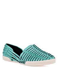 Elliott Lucca Rani Woven Leather Flats Reef Blue