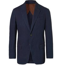 Ermenegildo Zegna Indigo Slim Fit Unstructured Garment Dyed Cotton Suit Jacket Blue