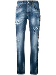 Frankie Morello Multipatch Distressed Jeans Blue