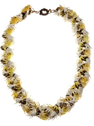 Annelise Michelson Thorny Leather Necklace Yellow And Orange