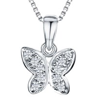 Jools By Jenny Brown Rhodium Plated Silver Cubic Zirconia Butterfly Pendant Necklace Silver
