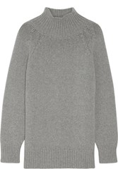 Max Mara Robinia Wool And Cashmere Blend Turtleneck Sweater Light Gray