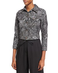 Marc Jacobs Crystal Embroidered Paisley Denim Jacket Black