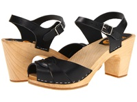 Swedish Hasbeens Peep Toe Super High Black Nature Women's Sandals