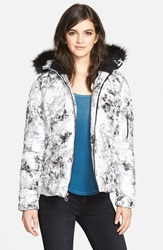 Betsey Johnson Print Puffer Jacket With Detachable Faux Fur Online Only Black White