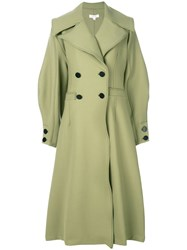 Beaufille Ono Double Breasted Coat Polyester Virgin Wool Spandex Elastane Green