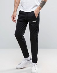 Puma Joggers With Velvet Trim In Tapered Black
