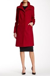 Via Spiga Stand Collar Wool Blend Coat Plus Size Red