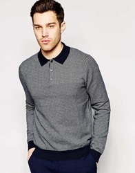 Peter Werth Knitted Dogtooth Long Sleeve Polo Shirt Navysilvermarl