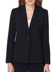 Tahari By Arthur S. Levine Petite Classic Fit Solid One Buttoned Jacket Black