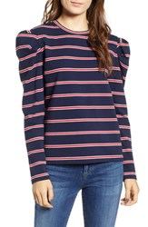 The Fifth Label Kinetic Stripe Puff Sleeve Top Navy Red