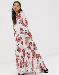 Sister Jane Tiered Maxi Dress In Vintage Floral White
