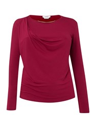Persona Vilma Long Sleeved Jersey Top With Metal Collar Fuchsia