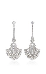 Ben Amun Antique Silver Crystal Deco Fan Earring