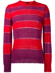 Just Cavalli Striped Long Jumper Red