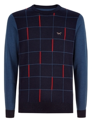 Wolsey Grid Panel Crew Neck Pull Over Jumper Total Eclipse