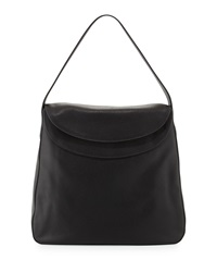 Prada Cervo Doubled Flap Top Leather Hobo Bag