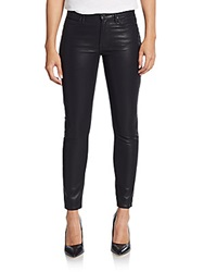 Mother The Muse Faux Leather Ankle Jeans Black