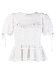 Self Portrait Knitted Peplum Top White