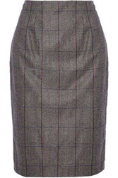 Carolina Herrera Checked Wool Skirt Gray