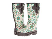 Mandf Western Lilian Ivory Turquoise Brown Rain Boots Multi