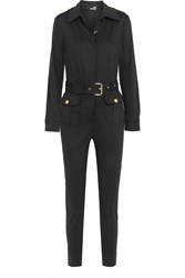 Love Moschino Brushed Cotton And Modal Blend Jumpsuit Black