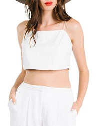 Kendall Kylie Leather Crop Shell Top White