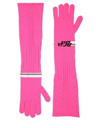 Prada Logo Intarsia Tech Knit Long Gloves Fuchsia