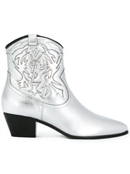 Saint Laurent 'Rock 40' Cowboy Ankle Boots Metallic