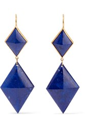 Marie Helene De Taillac 22 Karat Gold Lapis Lazuli Earrings Bright Blue