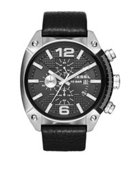 Diesel Dz4342 Overflow Stainless Steel And Leather Strap Watch Black