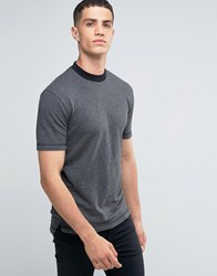 Only And Sons Crew Neck T Shirt With Raw Hems In Herringbone Light Grey