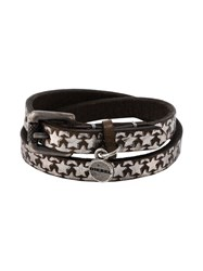Diesel Star Print Double Wrap Bracelet Brown