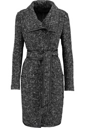 Donna Karan Leather Trimmed Tweed Coat Gray